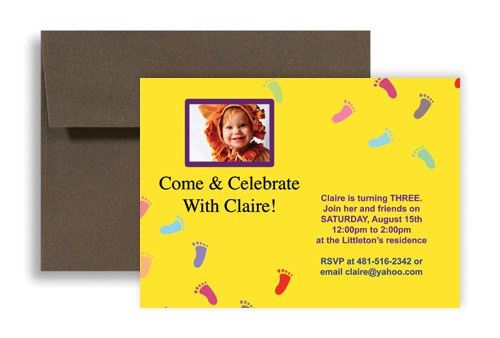 Baby Footprint Printable Microsoft Word Birthday Invitation 7x5 in ...