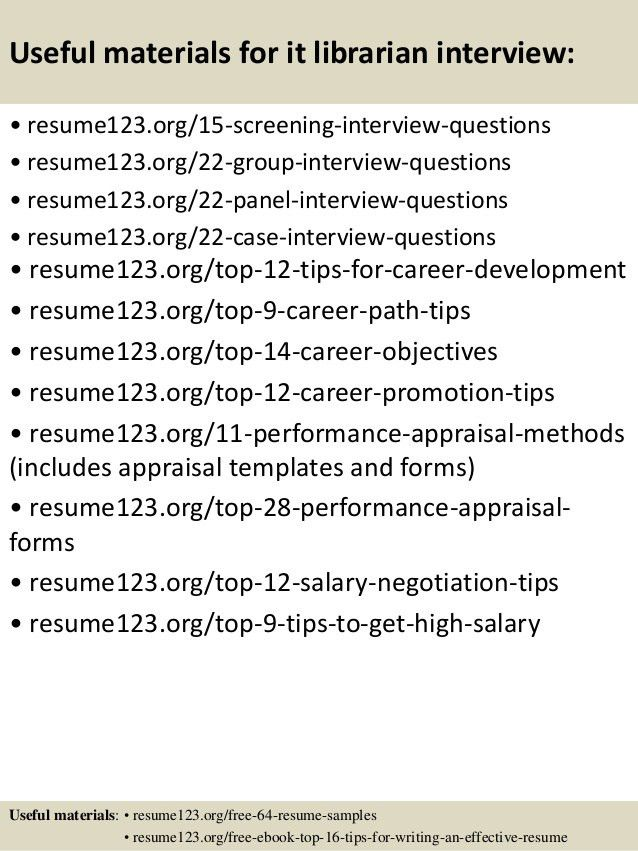 Top 8 it librarian resume samples