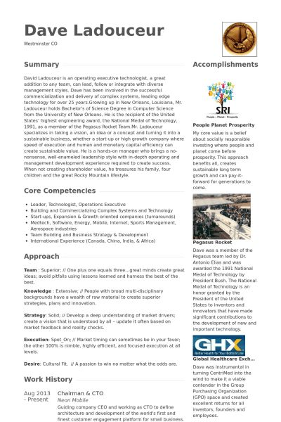 Chairman Resume samples - VisualCV resume samples database