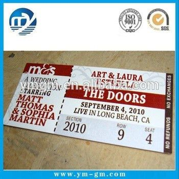 Ticket Printing Paper Tickets Custom Printed Concert Tickets - Buy ...