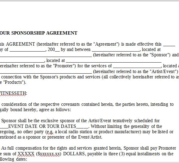 TOUR SPONSORSHIP AGREEMENT – OnlineMusicContracts.Com