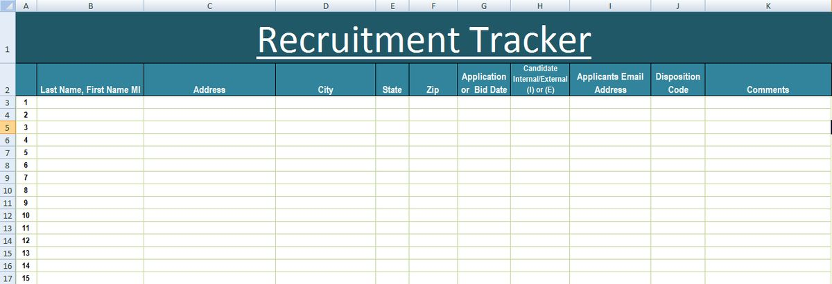 Recruitment Tracker Excel Template XLS - Microsoft Excel Templates