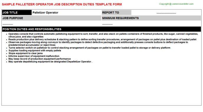 Manual Palletizer Job Descriptions