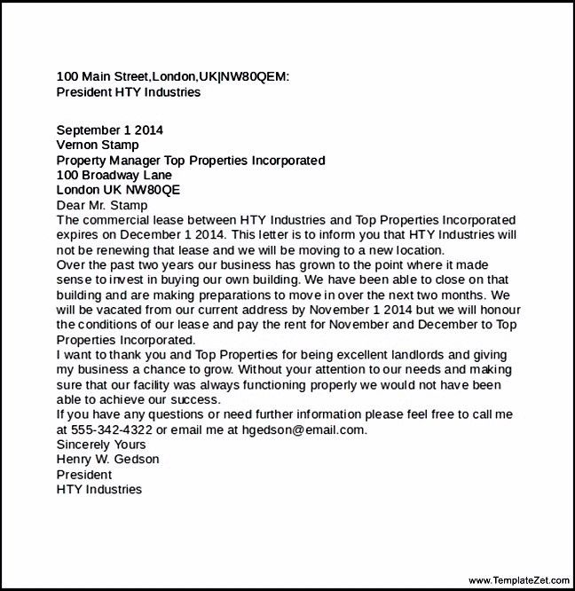 free notice of lease termination letter from landlord to tenant ...