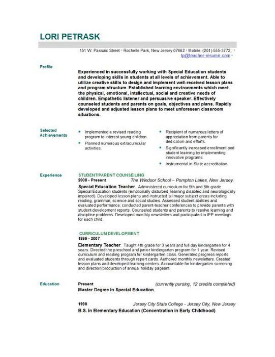 Teacher Resume Template | haadyaooverbayresort.com
