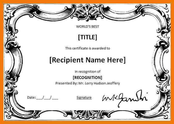 Awards Template Word | Jobs.billybullock.us