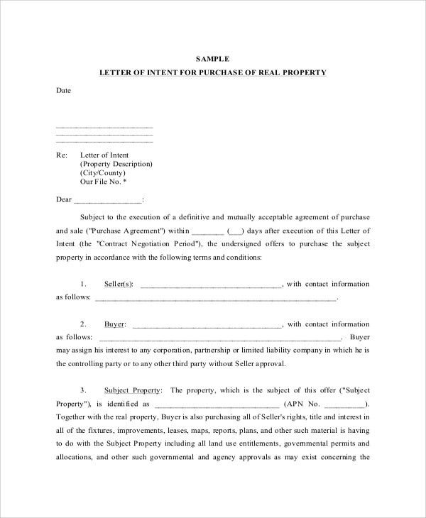 Sample Letter of Intent - 43+ Examples in PDF, Word