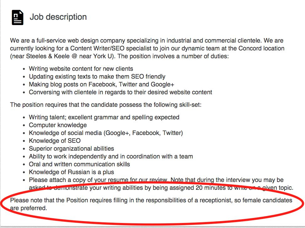 A company in Canada posted an incredibly sexist job listing to ...