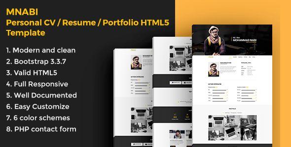 MNABI Personal CV/Resume Portfolio HTML5 Template by webcode4u ...