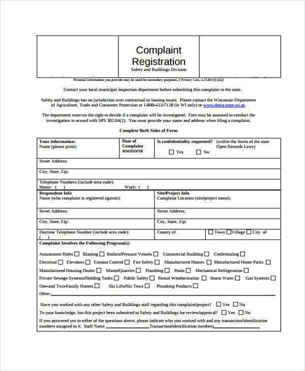 7+ Complaint Register Form Samples - Free Sample, Example Format ...