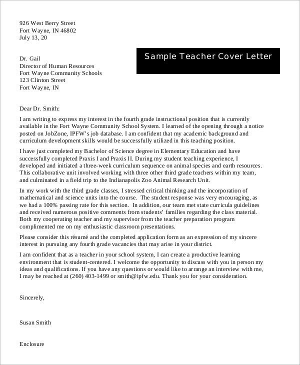 Samples Of Cover Letters For Teachers