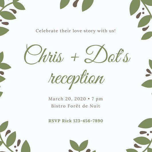 Green Leaves Wedding Reception Invitation - Templates by Canva