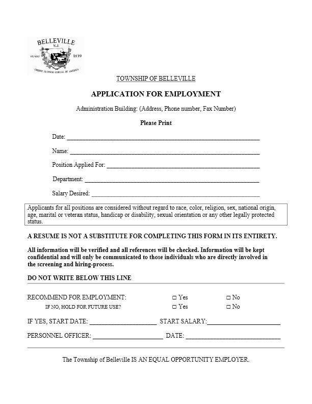 Employment Application – The Township of Belleville, NJ