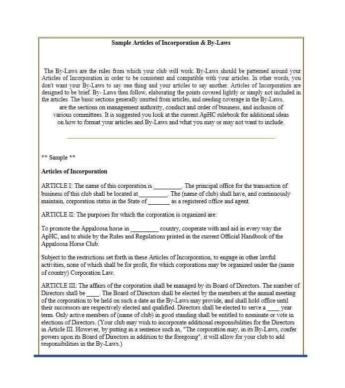 Articles of Incorporation - 47 Templates for Any State - Template Lab