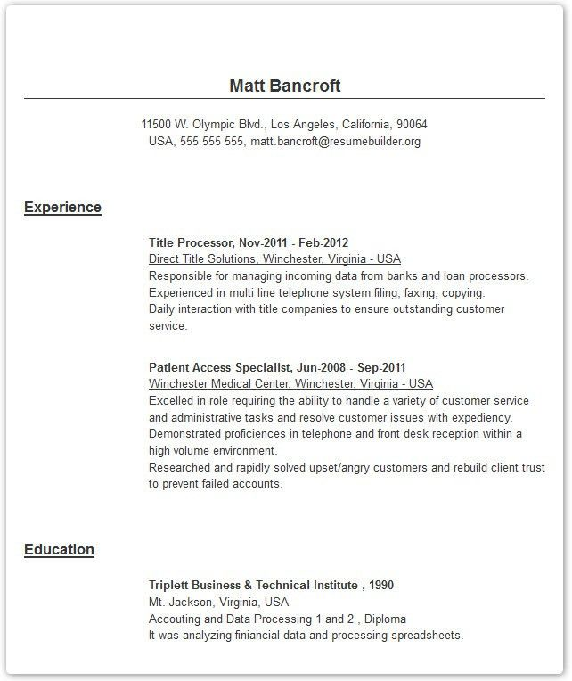 Resume Examples - Resume Builder with examples and templates to ...