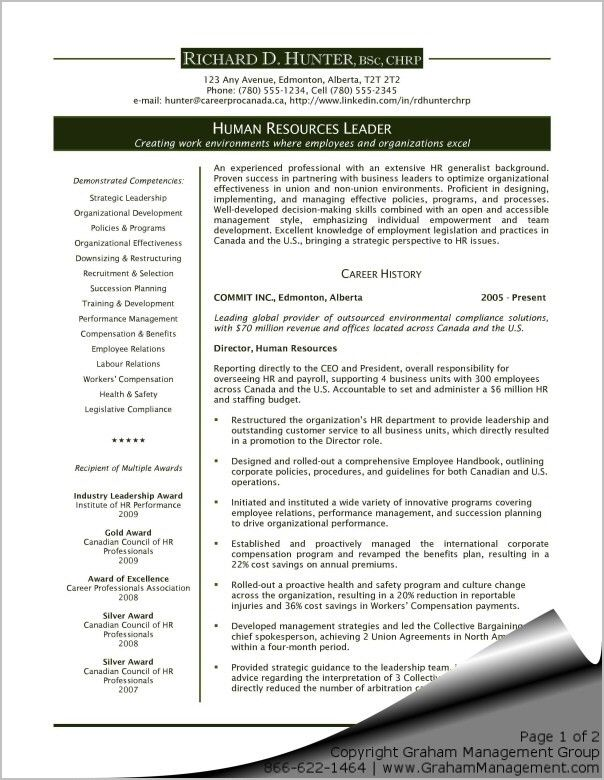 Human Resources Executive Resume - Sharon Graham