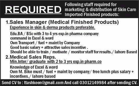 Sales Manager & Medical Sales Representative Jobs in Lahore 2015 ...