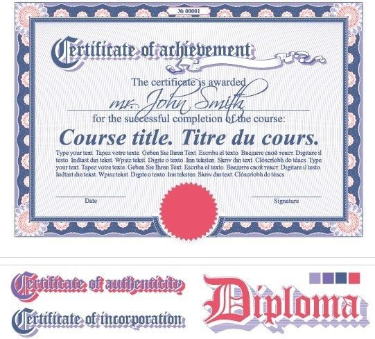 Diploma certificate design elements vector set Free vector in ...