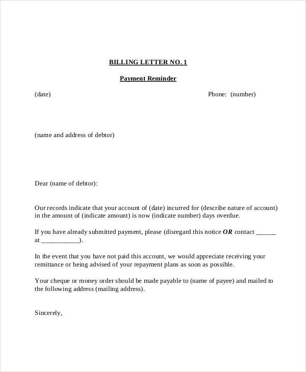 Payment Reminder Letter Template - 7+ Free Word, PDF Document ...