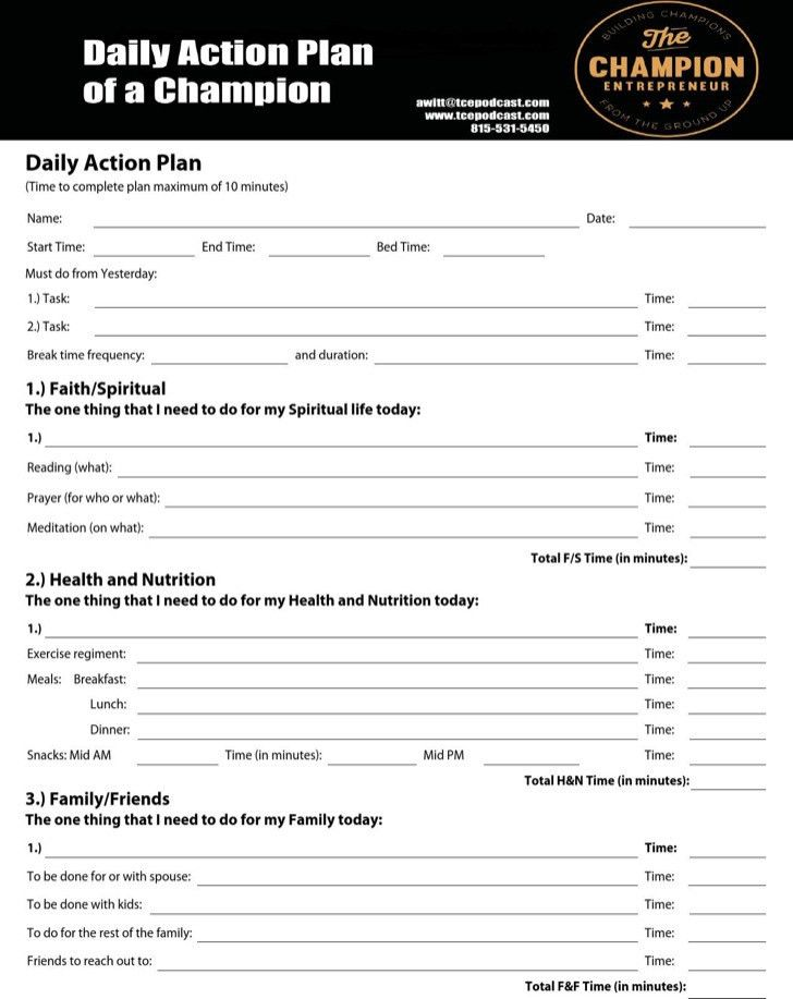 Daily Action Planner Templates | Download Free & Premium Templates ...