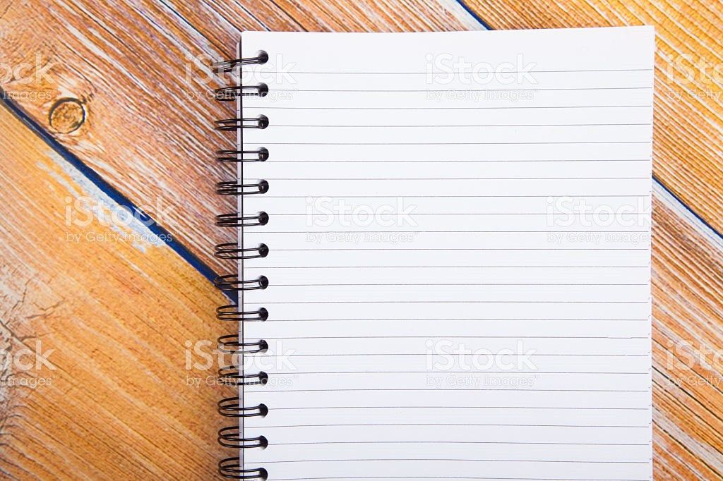 Close Up Of Blank Lined Page On Bright Yellow Boards stock photo ...