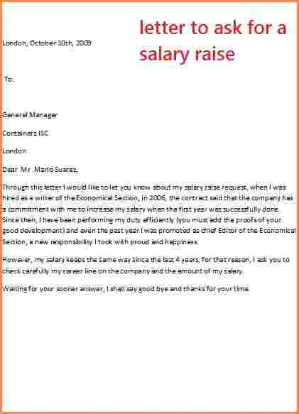 6+ sample letter requesting salary increase | Sales Slip Template