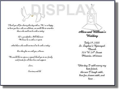 Wedding Program Template Order Form
