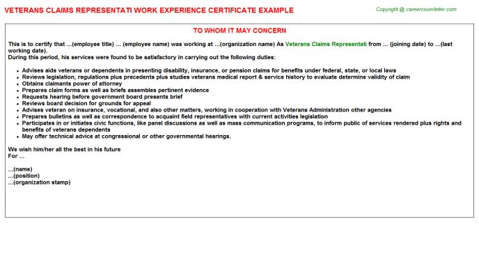 Veterans Claims Representati Work Experience Certificate