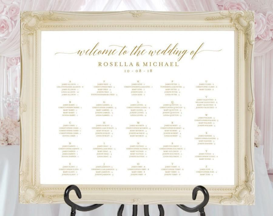 Gold Wedding Seating Chart, Printable Seating Chart, Seating Chart ...