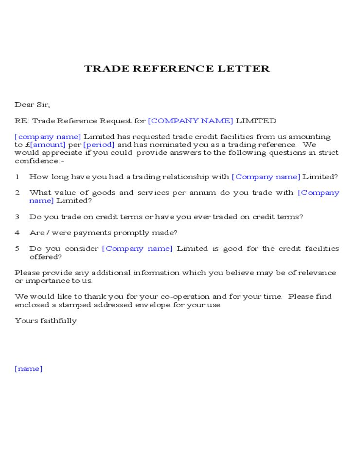 Trade Reference Letter Sample Free Download