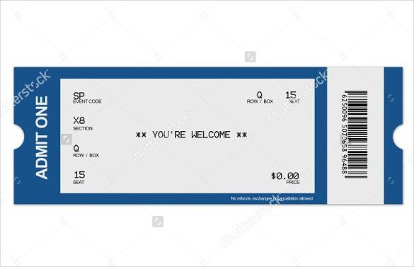 Blank Ticket Template. Airline Or Plane Ticket Template Detailed ...