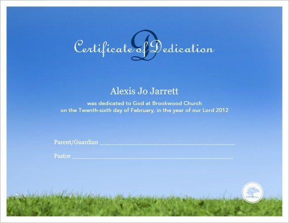 Baby Dedication Certificate Template – 19+ Free Word, PDF ...
