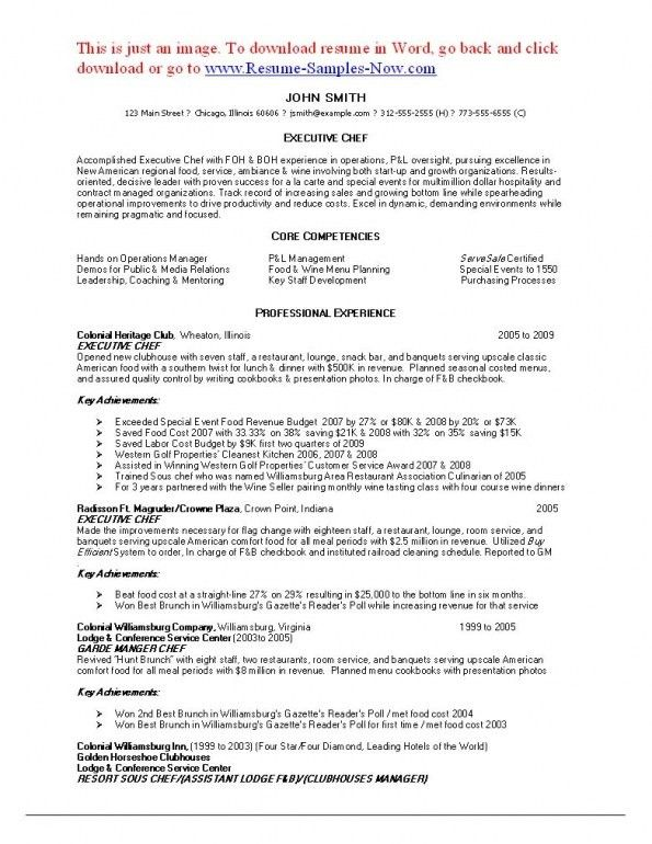 Executive Chef Job Description. Chef Resume 12 Culinary Chefs ...
