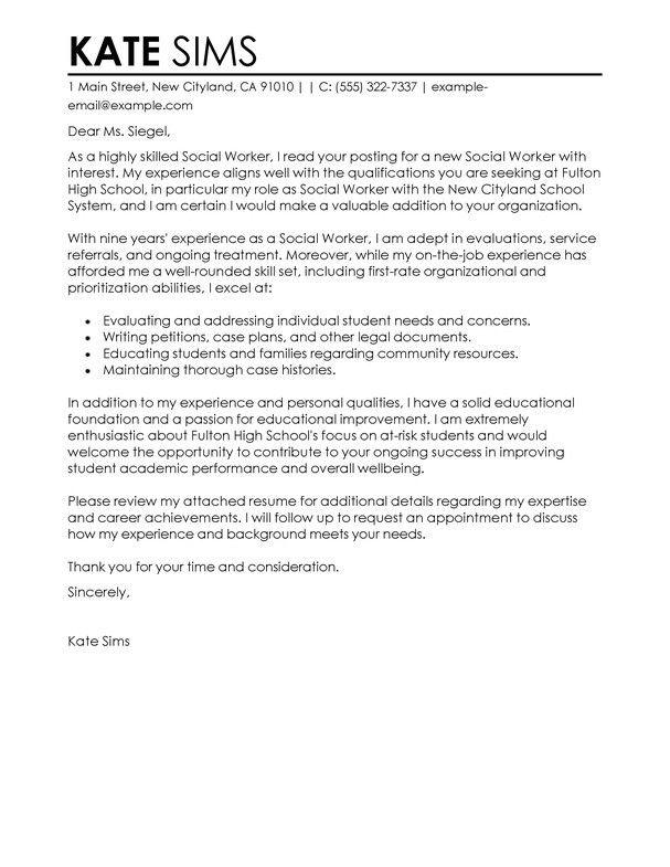 Social Work Cover Letter Examples - The Letter Sample
