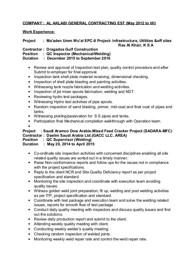 Resume QC Inspector Welding and Piping