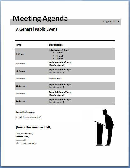 10-Formally used Agenda Templates | Formal Word Templates