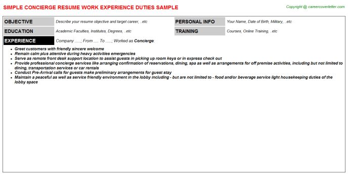 Download Concierge Resume | haadyaooverbayresort.com