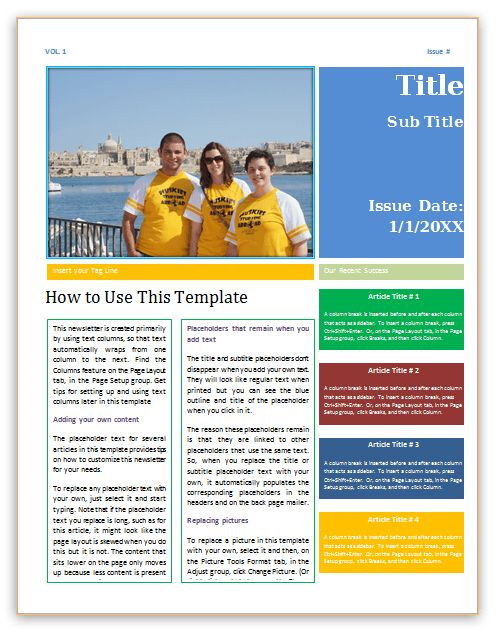 Newsletter template (4 pages, Word) - Save Word Templates