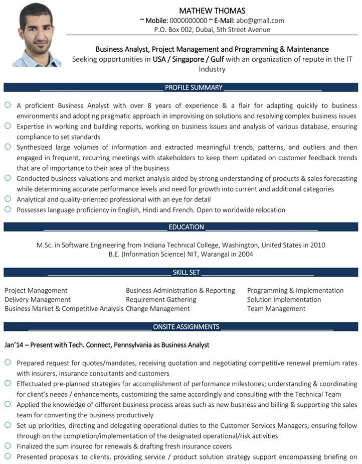 Business Analyst CV Format – Business Analyst Resume Sample and ...