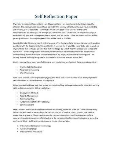 self reflection paper essay