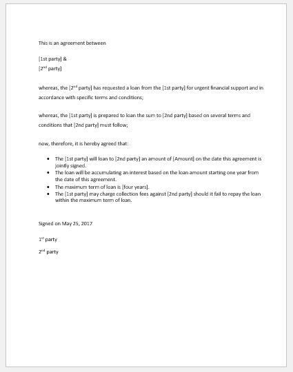 5 Best Agreement Letter Templates for Everyone | Word Document ...