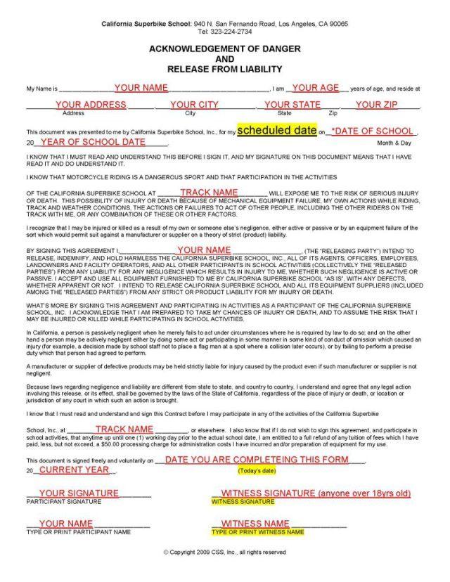 Legal Information | California SuperBike School