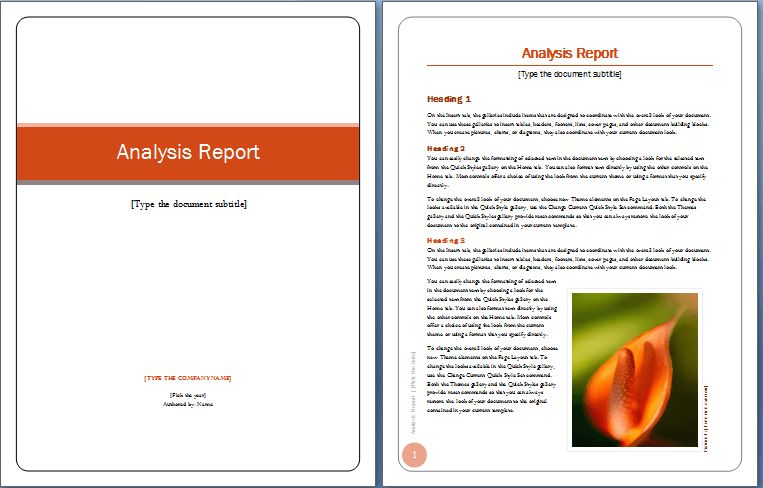 Analysis Report Cover and Content Word Template : Helloalive