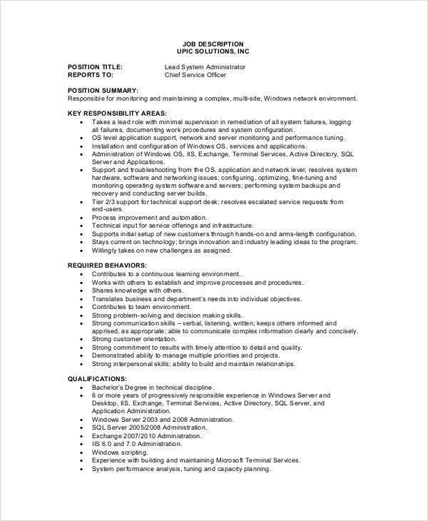 System Administrator Job Description - Free Sample, Example ...