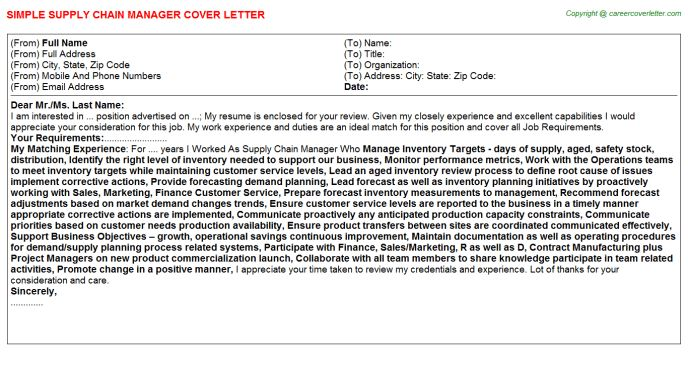 Supply Chain Trainee Cover Letter] New Supply Chain Management Cover ...