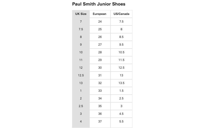Paul Smith Size Guides
