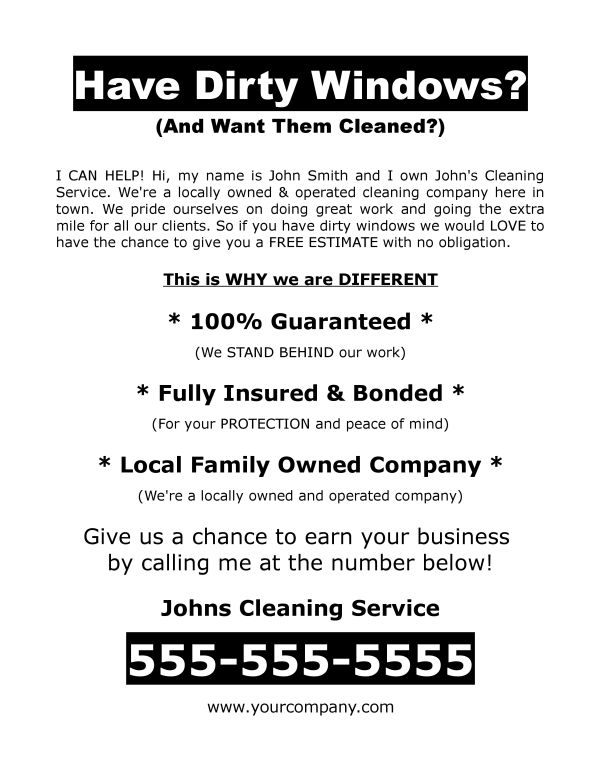 FREE DOWNLOAD: Window Washing Flyer