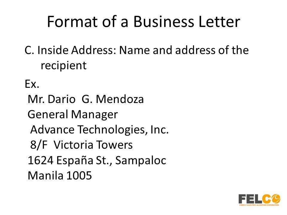 Example Of Inside Address In Business Letters | The Best Letter Sample