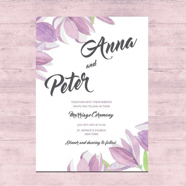 Floral wedding card design Vector | Free Download