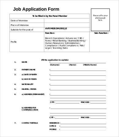 Job Application Form Template - 8+ Free PDF Documents Download ...